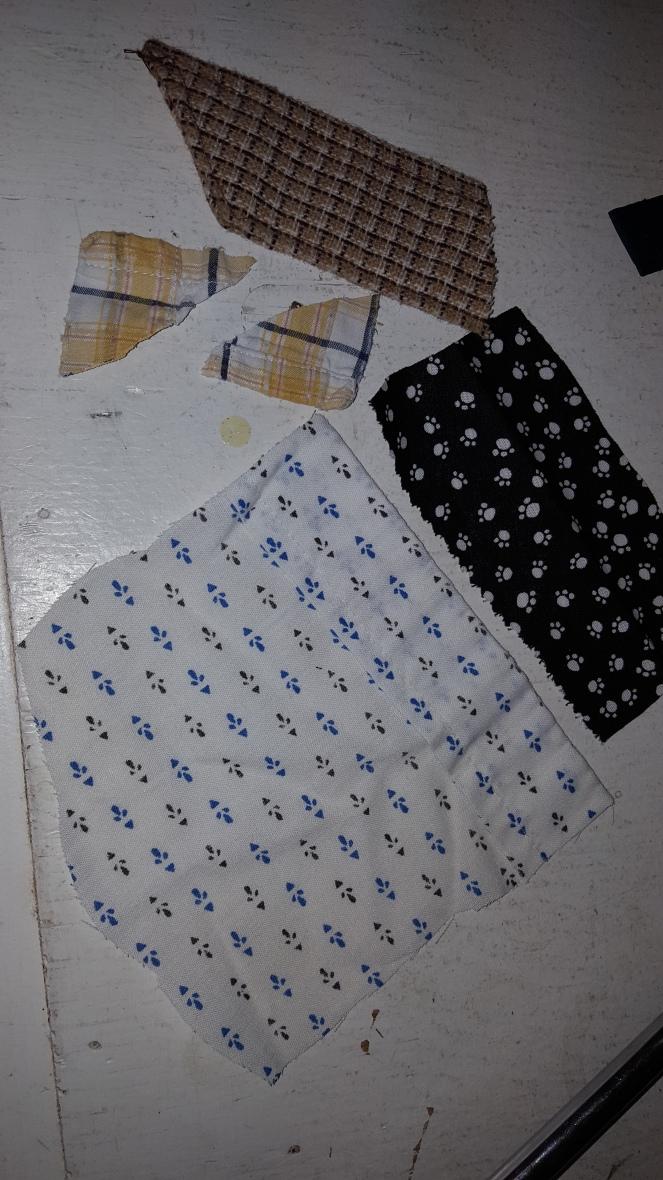 20170614_164609 pieces from Grandpa tie, Grandma's shirt, corners of 2nd grandpa shirt